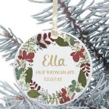 Personalised Bridesmaid Christmas Tree Decoration - Floral Wreath Design